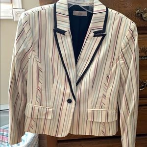 Women's detailed striped blazer.